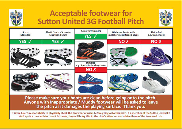 SU FC 3G Pitch Suitable Footware